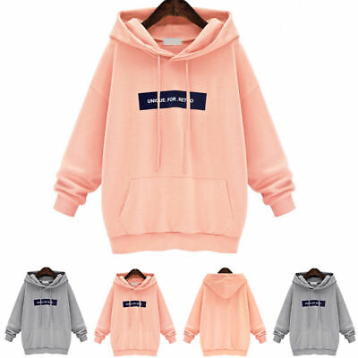 UK Womens Oversized Hooded Sweatshirt Ladies Hoodies Tops Jumper Pullover 8 - 26