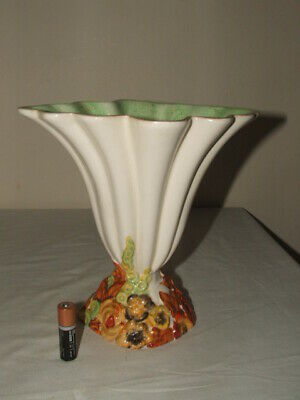 Clarice Cliff Art Deco My Garden Loped Shape  Footed Vase Truly  Stunning