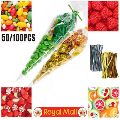 CLEAR CELLOPHANE CONE BAGS LARGE —— Sweet Candy Kids Party Favour Cones Cello