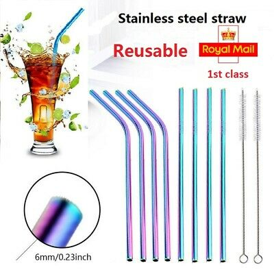 Stainless Steel Straws - Reusable Metal Straw - (4 or 6 or 8 pack) RAINBOW Brush