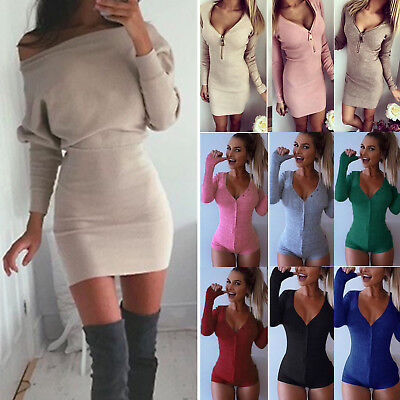 Womens Knitted Sweater Jumper Pullover Mini Dress Bodycon Bodysuit Leotard Tops