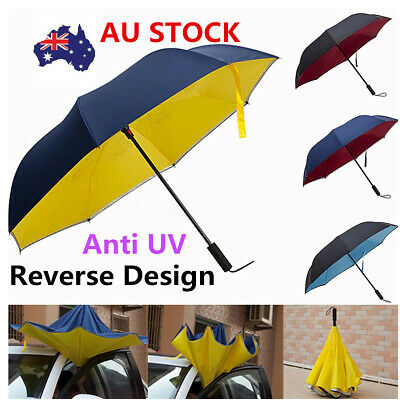 Anti UV Upside Down Umbrella Inverted Reverse Designer Windproof Foldable Gift
