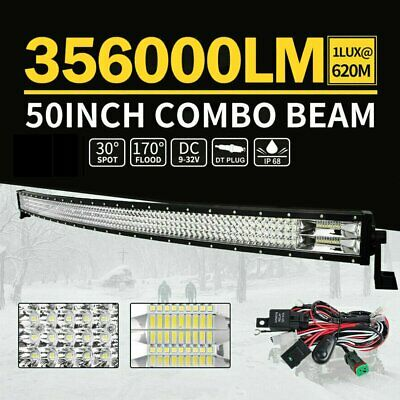 "50inch Curved Cree LED Light Bar Spot Flood Combo Beam Work Driving 4WD 52"" OM"