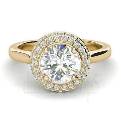 Near White Round 1.67 Ct Moissanite Silver Engagement Ring With Yellow Gold Over