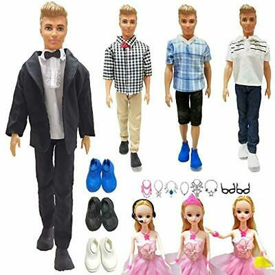 Doll Clothes and Accessories for Barbie Ken Dolls, 4 Outfits + 3 Pair Shoes + 56