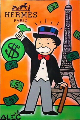 "Alec monopoly ""HERMES PARIS"" ,Handcraft Oil Painting on Canvas ,24x36inch"