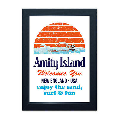 WTFAmity Island BillboardMetal Wall Sign Plaque ArtHorror Jaws Sea