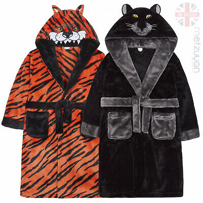 Boys Childrens Dressing Gown Robe Tiger Panther Plush Fleece Kids Pyjama Hooded
