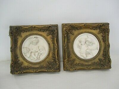 Pair of Framed Antique Relief Plaster Carved Cherub Plaques