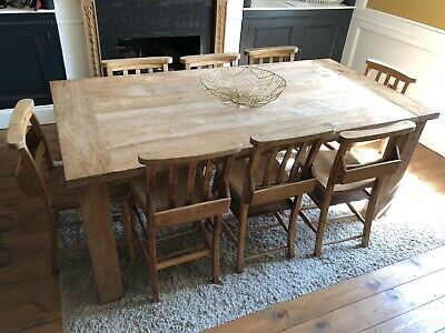 Large Farmhouse Dining Table Reclaimed Wood Seats 8 With 8 Chapel Chairs