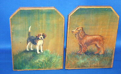 A super pair of antique painted dog bookends, beagle and spaniel, Edwardian
