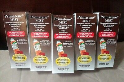 5 PRIMATENE MIST ASTHMA RELIEF INHALERS, 160 METERED SPRAYS EACH Exp. 09/2020+