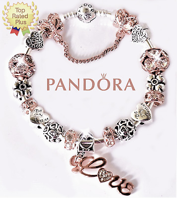 Pandora Charm Bracelet Silver Bangle with Rose Gold Love European Charm New