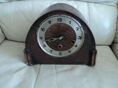 Antique Westminster wooden cased chiming mantle clock Need Repair Not working