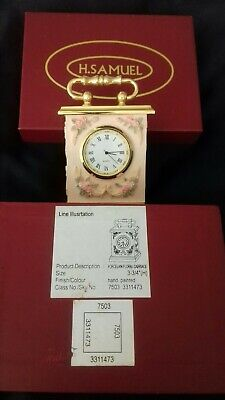 H . Samuel Miniature Clock Incased In Porcelain Floral Carriage With Original...