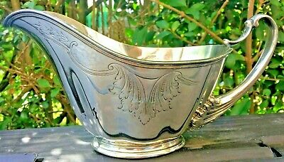 Large Silver Plated Etched and hammered Gravy Boat : Versailles
