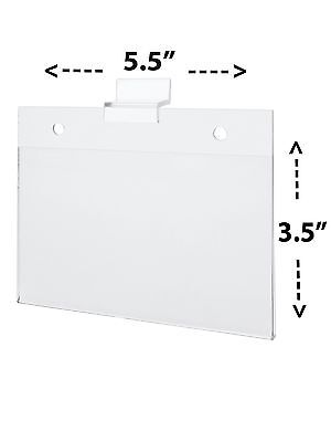 "5"" w x 3"" h Slatwall Ad Frame Sign Flyer Holder Landscape Clear Acrylic"