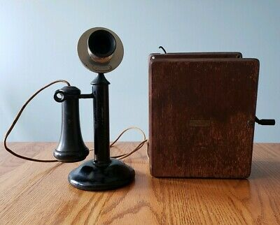 Antique Candlestick Telephone w/ Oak Ringer Box Western Electric Chicago NICE!
