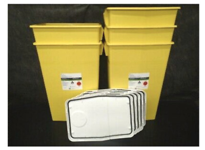 "Covidien 8989 - Sharps Container, 18 Gal Hinged Lid, 26""H x 12¾""D x 18¼""W, 5/PC"