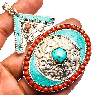"""Tibetan Turquoise Red Coral Pendant 925 Silver Plated Jewelry Sz3.51"""""""