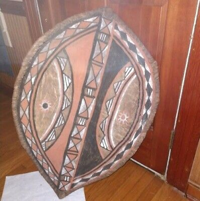 Rare Authentic African Maasai Tribal Hand Painted Leather Hide Shield Art Weapon
