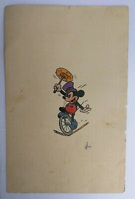 VINTAGE 1940s MICKEY MOUSE MALABARIST UMBRELLA INK AND WATERCOLOR DRAWING DISNEY