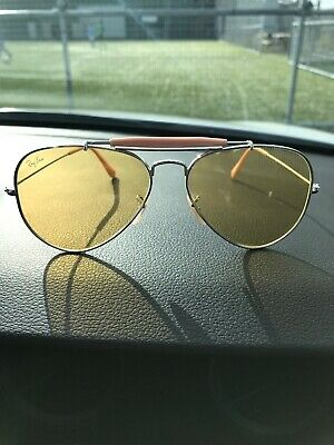 Vintage Ray Ban Aviator Sunglasses  Etched  Ambermatic lens