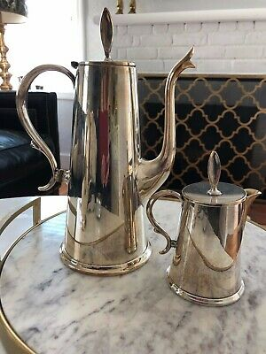Vintage Wallace Town House Coffee Pot+ Creamer Silver Plate Holloware