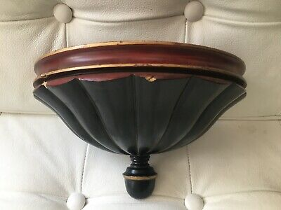 Vintage wall light sconce uplight, wooden fluted shell 25cm