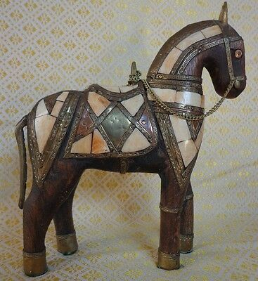 Vintage Wood Horse Sculpture Armoured Brass Copper Shell Inlay ~ FREE SHIPPING