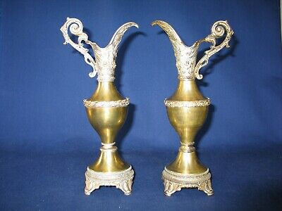 Pair PITCHERS/EWERS Antique Victorian Brass & Spelter in VERY GOOD CONDITION