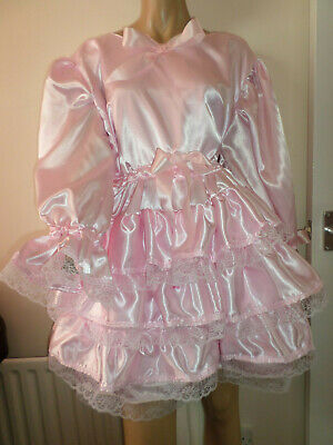 """Adult Baby Sissy Pink Satin Pretty Frilly Ruffle  Dress 42""""  Long Puffed Sleeves"""