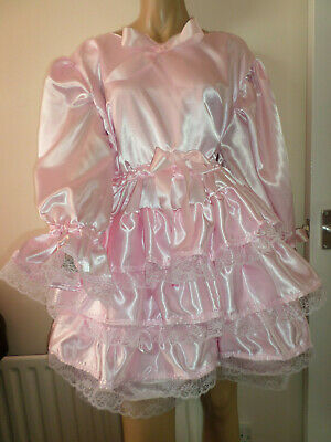 "Adult Baby Sissy Pink Satin Pretty Frilly Ruffle  Dress 48""  Long Puffed Sleeves"
