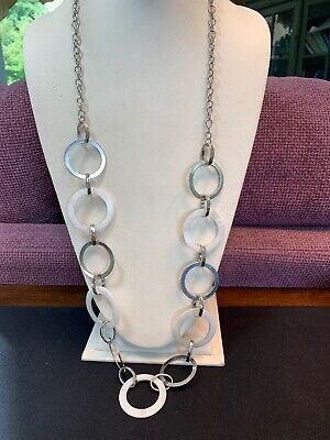Vintage White Mother Of Pearl Silver Tone  Long Beaded Necklace 34""