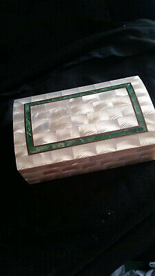 Beautiful Mother Of Pearl & Agate Inlaid Trinket Box