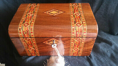 Antique Walnut & Banded Box With Key