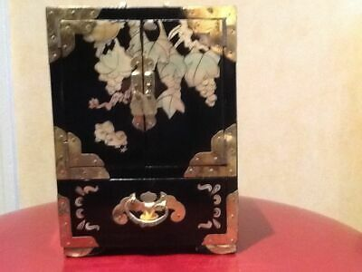 Vintage Chinese Black Lacquer and Mother of Pearl Jewellery Box