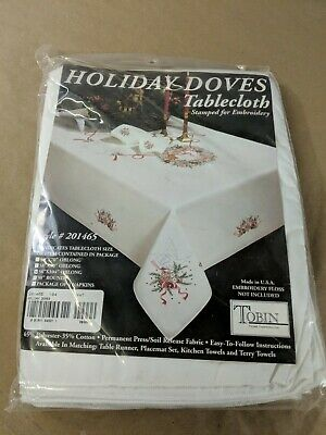 """Tobin Stamped Tablecloth HOLIDAY DOVES 58"""" x 104"""" Oblong Embroidery i6"""