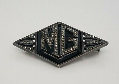 Sterling Silver Onyx and Marcasite Pin Initials MG