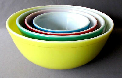 4 Vintage PYREX Primary Colors GLASS NESTING BOWLS Blue Red Green & Yellow 1950s