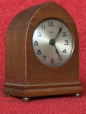 Antique New Haven 12 Day Miniature Mantel Desk Clock Mahogany Case Dial Running