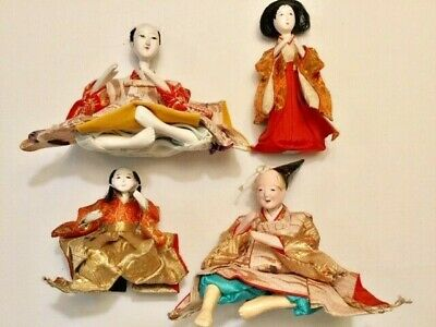 Antique Japanese Set of 4 Hina Doll Minatures