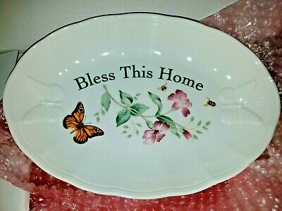 """NEW Lenox Butterfly Meadow """"Bless This Home""""  Serving Tray NIB"""