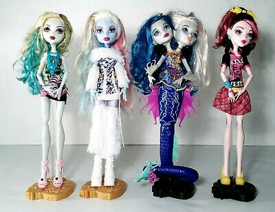 "Monster High Dolls 11"" Lot of 4 Dolls w/ Clothes Mattel 2008-2014"