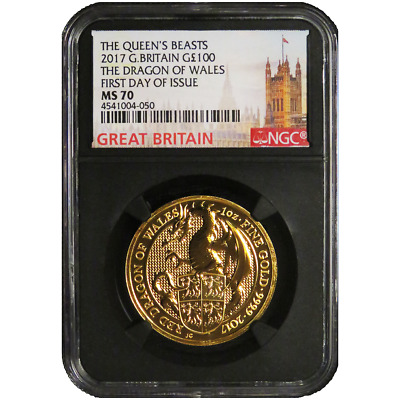 2017 UK 100 Pound 1 oz Gold Queen's Beast The Dragon NGC MS70 FDI London Label R