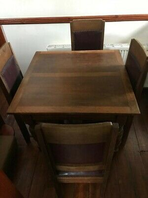 Vintage Antique Wooden expandable Dining Table And 4 Chairs