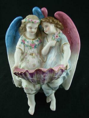 Beautiful Antique Porcelain Pair Of Angels Wall Plaque, Holy Water Shell  Font