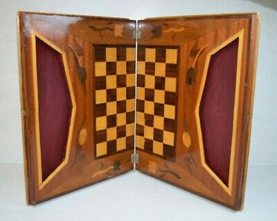 Antique Collectible Handmade Wooden Inlay Chess Board Game Table Box Intarsia