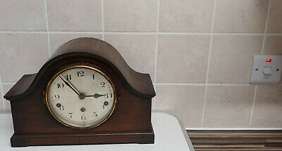 Vintage Wooden Cased Napoleon Hat Chiming Mantle Clock - No Key