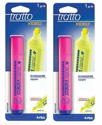 2 Stylos Surligneur Rose Fluo Tratto Video